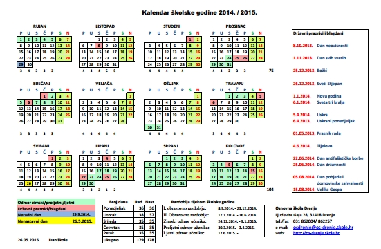 551 x 360 jpeg 194kB, Osnovna škola Drenje - Kalendar školske godine